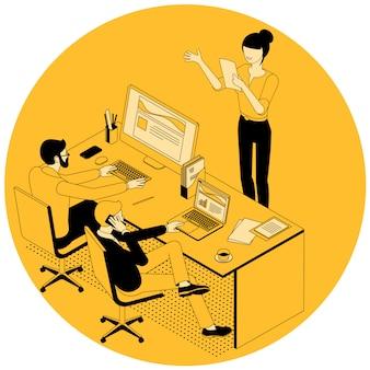 Ilustración isométrica de comunicación empresarial.