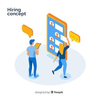 Ilustración isométrica concepto contratación