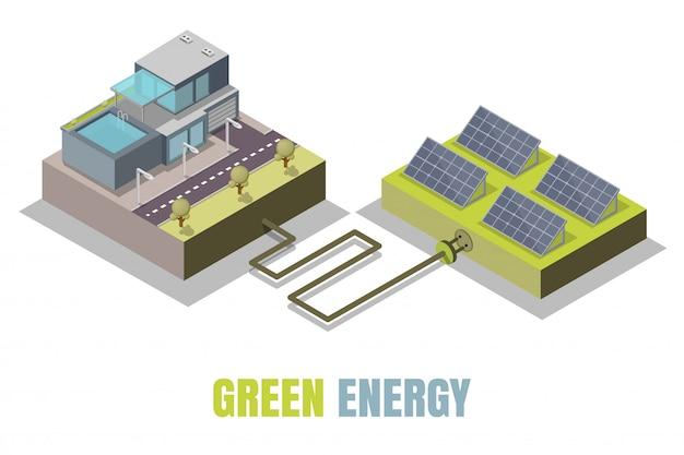 Ilustración isométrica del concepto de energía verde