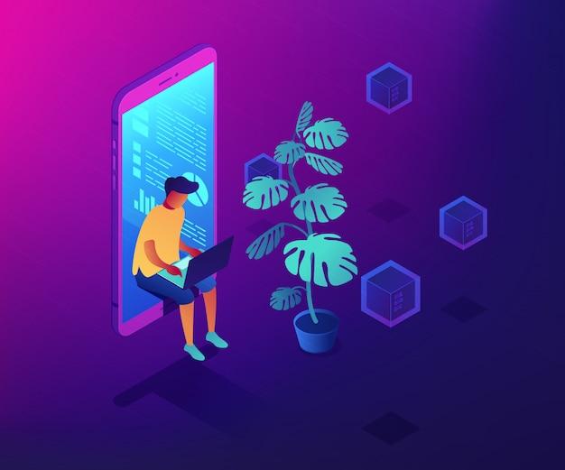 Ilustración isométrica del concepto de era digital.