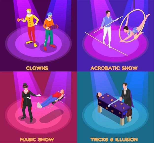 Ilustración isométrica del concepto de espectáculo de circo con payaso y símbolos de espectáculo de magia aislados