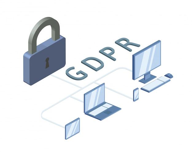 Ilustración isométrica del concepto gdpr. reglamento general de protección de datos. protección de datos personales. , sobre fondo blanco.
