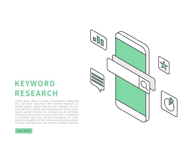 Ilustración isométrica del concepto de investigación de palabras clave seo
