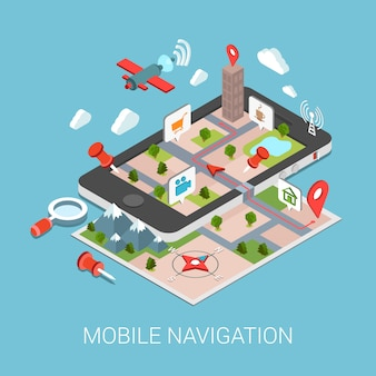 Ilustración isométrica del concepto de navegación gps móvil tableta en papel marcador de puntos de mapa búsqueda por satélite de puntos de interés lupa ciudad ruta seguimiento pin calle.