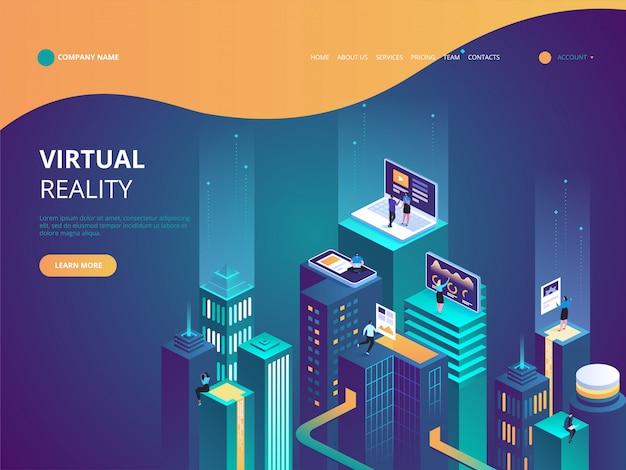 Ilustración isométrica del concepto de realidad virtual