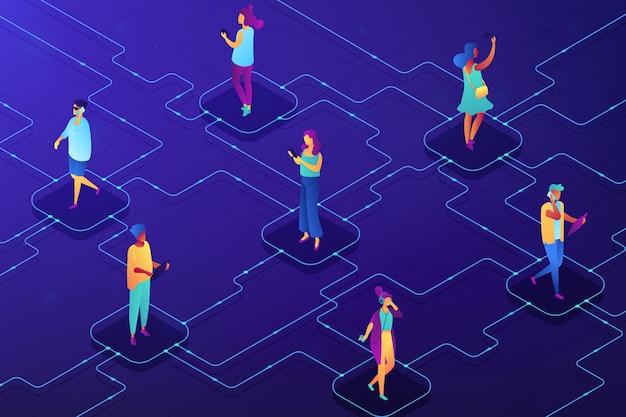 Ilustración isométrica del concepto de red social.