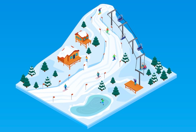 Ilustración isométrica del concepto de vector de la estación de esquí