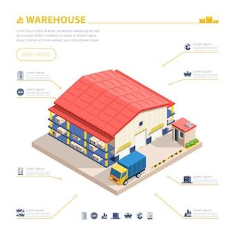 Ilustración isométrica de construcción de almacén
