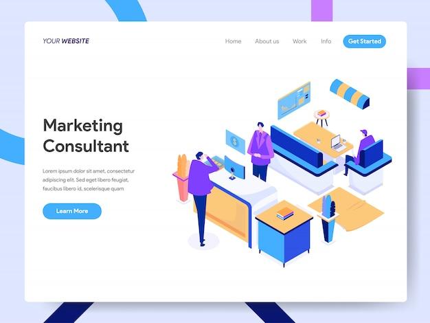Ilustración isométrica del consultor de marketing digital para la página web