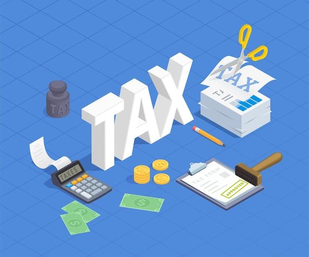 Ilustración isométrica de contabilidad de impuestos