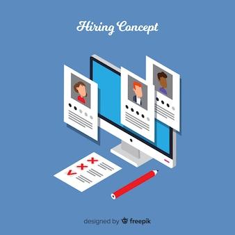 Ilustración isométrica contratación simple