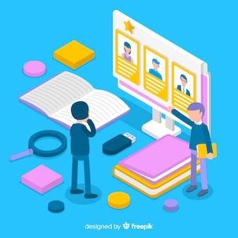 Ilustración isométrica contratación