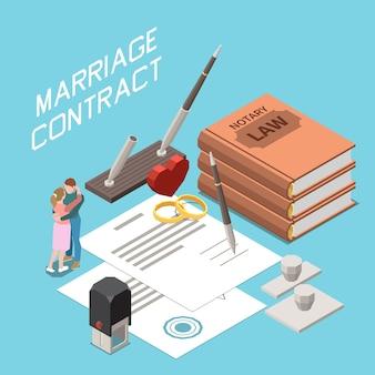 Ilustración isométrica del contrato de matrimonio