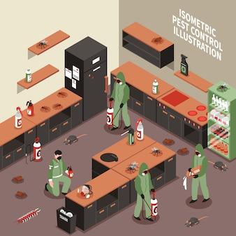 Ilustración isométrica de control de plagas
