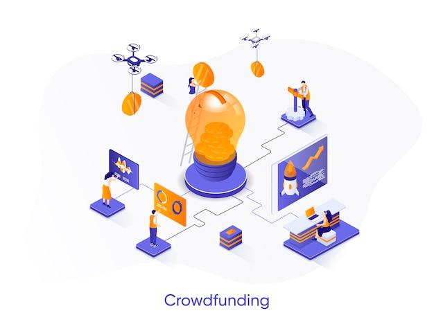 Ilustración isométrica de crowdfunding con personajes de personas.