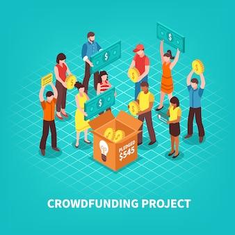 Ilustración isométrica de crowdfunding