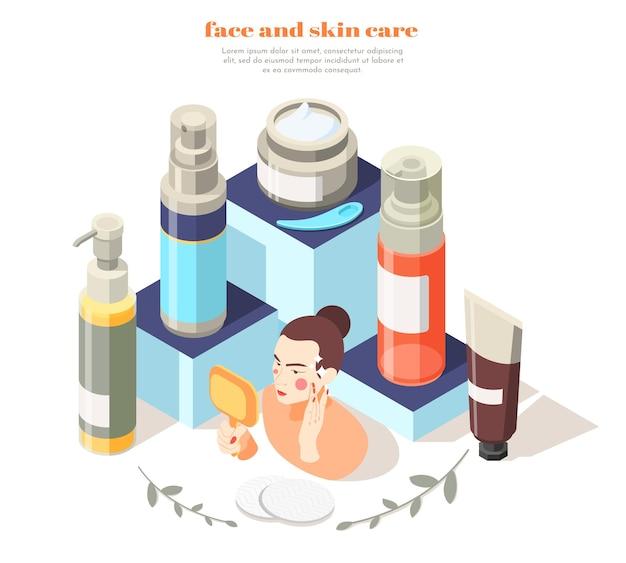 Ilustración isométrica del cuidado de la cara y la piel.