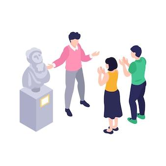 Ilustración isométrica con curador de la galería de arte y dos visitantes aplaudiendo
