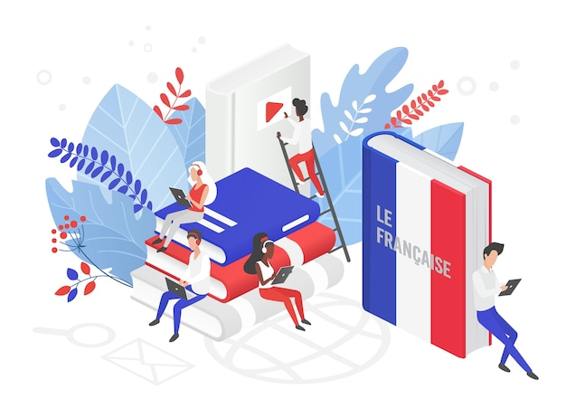 Ilustración isométrica de cursos de francés en línea.