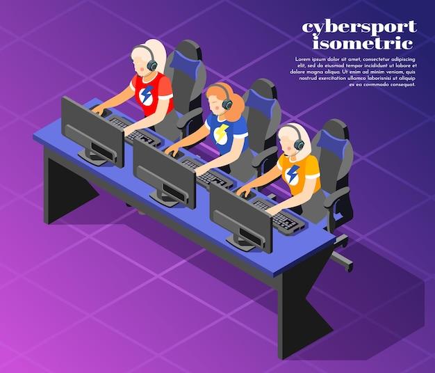Ilustración isométrica de cybersport