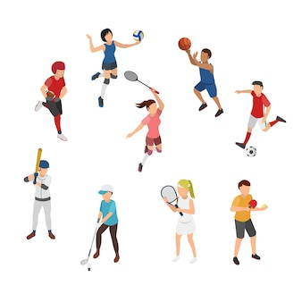 Ilustración isométrica del deporte