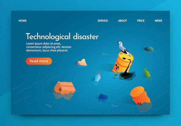 Ilustración isométrica del desastre tecnológico.