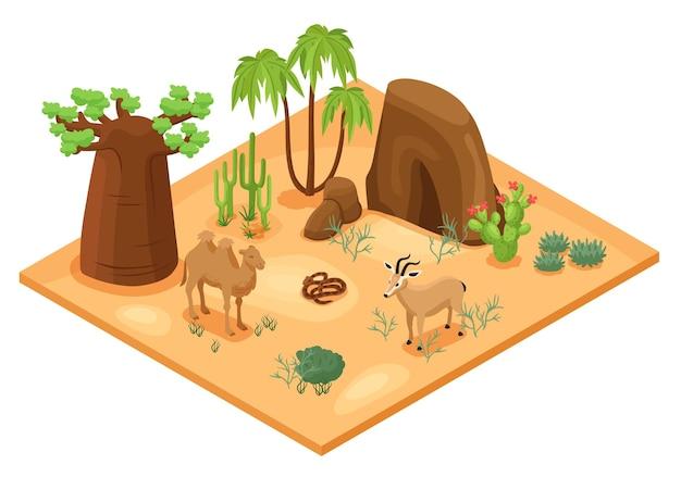 Ilustración isométrica del desierto