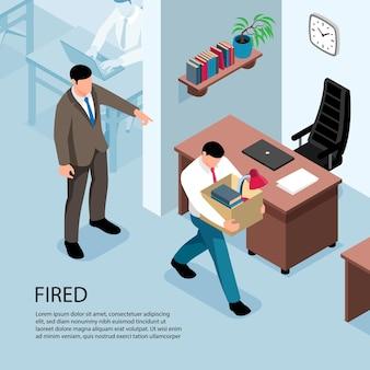 Ilustración isométrica despedida con jefe expulsando trabajador