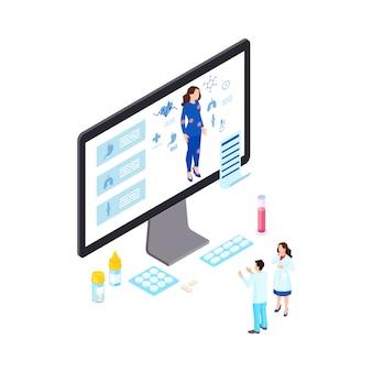 Ilustración isométrica de diagnóstico de salud en línea. tecnología de telemedicina para identificar enfermedades, enfermedades. médicos de dibujos animados que estudian los órganos internos del paciente en línea, recetan medicamentos, píldoras