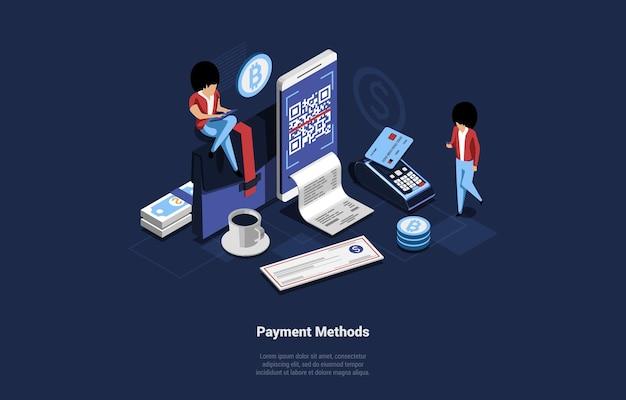 Ilustración isométrica de diferentes métodos de pago
