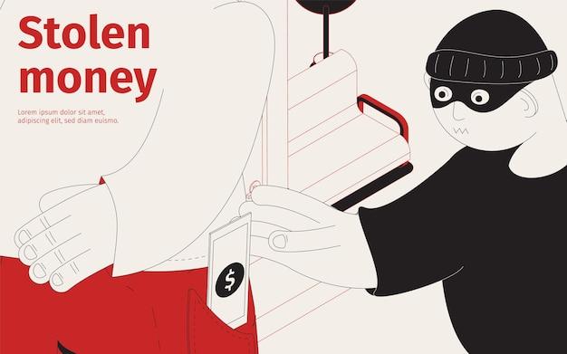 Ilustración isométrica de dinero robado