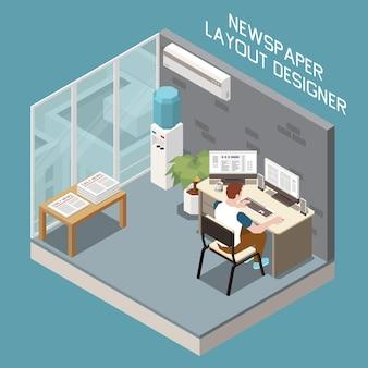 Ilustración isométrica del diseñador de diseño de periódicos