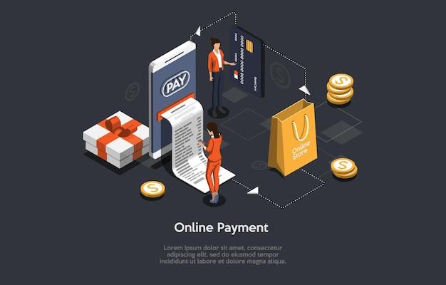 Ilustración isométrica diseño 3d de dibujos animados de tienda online y orden de pago