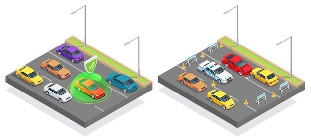Ilustración isométrica de diseño de estacionamiento