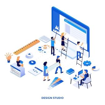 Ilustración isométrica de diseño plano moderno de design studio