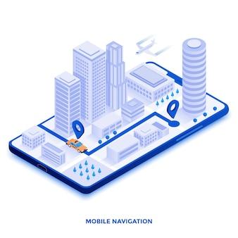 Ilustración isométrica de diseño plano moderno de navegación móvil