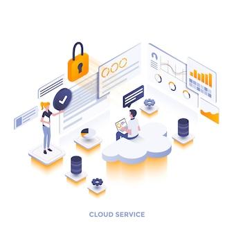 Ilustración isométrica de diseño plano moderno del servicio en la nube