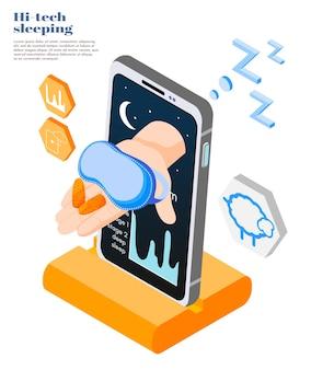 Ilustración isométrica para dormir de alta tecnología
