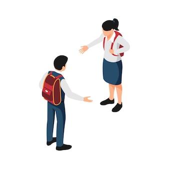 Ilustración isométrica con dos alumnos en uniforme escolar saludándose