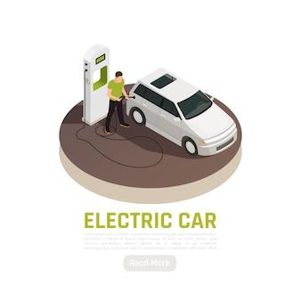 Ilustración isométrica de ecología de energía verde con texto editable de estación de carga de coche eléctrico y botón de lectura