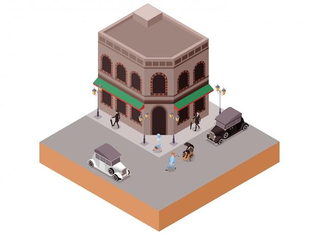Ilustración isométrica edificio clásico antiguo de estilo europeo vintage como bar o cafetería en la esquina de la calle