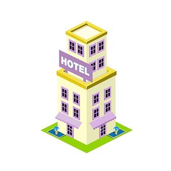 Ilustración isométrica del edificio del hotel