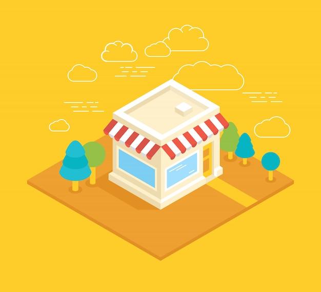 Ilustración isométrica de edificio de tienda de vector