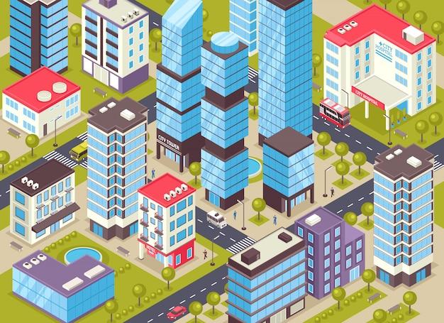 Ilustración isométrica de edificios de la ciudad