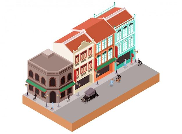 Ilustración isométrica de edificios coloniales clásicos en el área de la ciudad de china, incluyendo tiendas, tiendas y cafés o bares