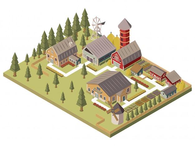 Ilustración isométrica de edificios de granja