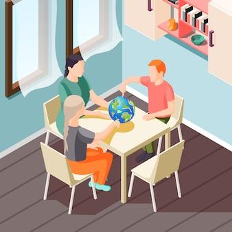 Ilustración isométrica de educación alternativa con profesor y alumnos durante la lección de geografía