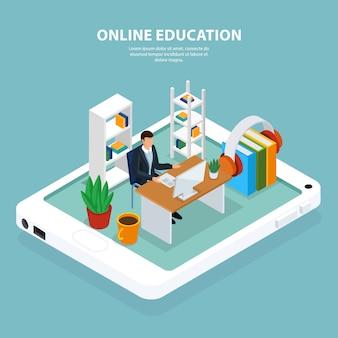 Ilustración isométrica de educación en línea