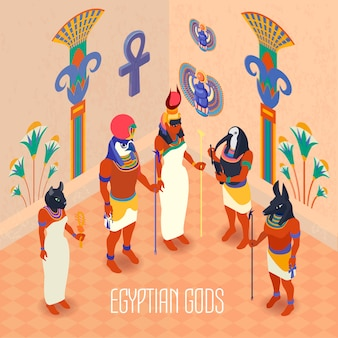 Ilustración isométrica de egipto