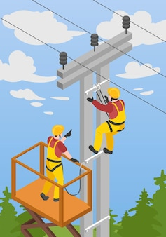 Ilustración isométrica con electricistas.